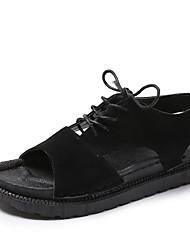 cheap -Women's Shoes PU(Polyurethane) Summer Comfort Sandals Flat Heel Round Toe Black / Gray / Lace up