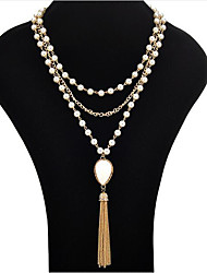 cheap -Women's Pearl Tassel / Lasso Statement Necklace / Pearl Necklace - Pearl Tassel, Fashion White, Black Necklace For Party, Special Occasion, Birthday