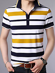 cheap -Men's Active Slim Polo - Striped Print Shirt Collar / Short Sleeve