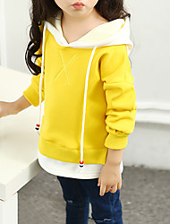 cheap -Girls' Solid Letter Hoodie & Sweatshirt, Cotton Spring Fall Long Sleeves Casual Active Green Black Yellow