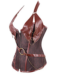 abordables -Cosplay Steampunk Costume Femme Corset Noir Gris Marron Vintage Cosplay Polyester Sans Manches