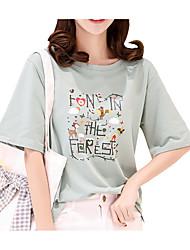 economico -T-shirt Per donna Essenziale Con stampe,Fantasia floreale Alfabetico