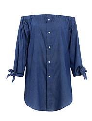 abordables -Femme Coton Toile de jean Robe Couleur Pleine Epaules Dénudées Au dessus du genou