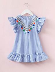 cheap -baby girl's striped dress, polyester summer sleeveless blue 140 130 120 110 100