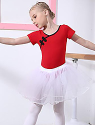 cheap -Ballet Outfits Girls' Training / Performance Cotton Lace Short Sleeve Natural Skirts / Leotard / Onesie