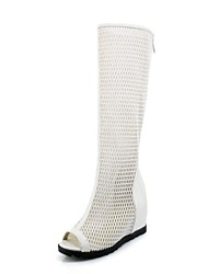 cheap -Women's Shoes Tulle Spring / Summer Comfort / Gladiator Sandals Wedge Heel Peep Toe Knee High Boots White / Black
