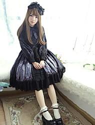 povoljno -Sweet Lolita Slatko Žene Haljine Cosplay Crn Bež Sive boje Plava Lolita Dugih rukava Do koljena