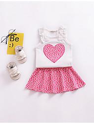 billige -Spædbarn Pige Trykt mønster Uden ærmer Bomuld Tøjsæt