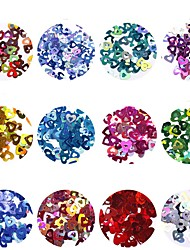 Недорогие -12шт Блеск Пайетки 12 цветов маникюр Маникюр педикюр блестит / Heart Shape