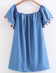 cheap -Women's Basic Denim Dress - Solid Colored