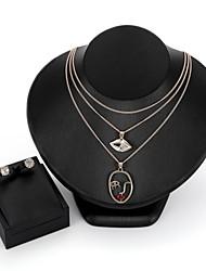 baratos -Mulheres Zircão / Chapeado Dourado Fofo Lábios Conjunto de jóias 1 Colar / Brincos - Fashion Forma Geométrica Dourado Conjunto de Jóias /