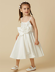 cheap -A-Line Tea Length Flower Girl Dress - Taffeta Sleeveless Spaghetti Straps with Bow(s) Sash / Ribbon by LAN TING BRIDE®