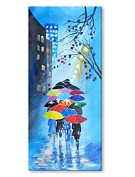 cheap -STYLEDECOR Modern Hand Painted Walking in the Rain Oil Painting on Canvas for Wall Art