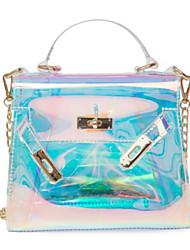 baratos -Mulheres Bolsas PVC Bolsa de Ombro Ziper para Casual Arco-íris