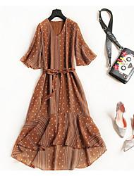 povoljno -Žene Vintage Ulični šik A kroj Swing kroj Haljina - Vezanje straga, Jednobojni Na točkice Midi