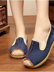 povoljno -Žene Cipele Platno Proljeće Jesen Udobne cipele Natikače i mokasinke Ravna potpetica za Kauzalni Bež Crvena Plava