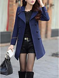 cheap -Women's Daily Simple Casual Winter Regular Coat, Solid Shirt Collar Wool Wool Blends Nylon Taffeta