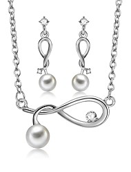 cheap -Women's Jewelry Set - Imitation Pearl, Zircon, Silver Plated Include Drop Earrings / Pendant Necklace Silver For Wedding / Evening Party