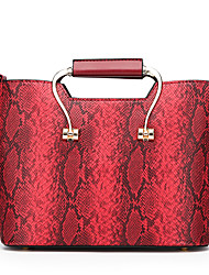 cheap -Women's Bags leatherette / PU Tote Zipper Red / Gray / Brown