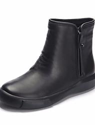 baratos -Mulheres Sapatos Pele Napa / Pele Outono / Inverno Curta / Ankle Botas Sem Salto Botas Curtas / Ankle Preto