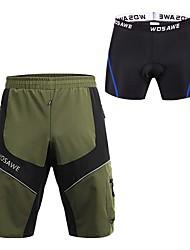 baratos -WOSAWE Homens Bermudas Acolchoadas Para Ciclismo Moto Shorts Acolchoados / Bermudas para MTB / Calças Secagem Rápida, Tiras Refletoras Retalhos, Clássico Vermelho / Azul Roupa de Ciclismo
