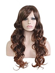 cheap -Synthetic Wig Wavy Layered Haircut / Side Part Synthetic Hair Natural Hairline Brown Wig Women's Very Long Capless Black / Brown