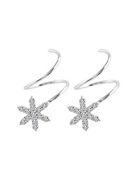 cheap -Women's Cubic Zirconia Stud Earrings - Sterling Silver Snowflake, Twist Circle Korean, Sweet, Fashion Silver For Gift / Daily