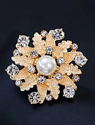 preiswerte -Damen Broschen Strass Perle Aleación Blume Gold Silber Blumig Modisch Europäisch Schmuck Hochzeit Alltag Modeschmuck