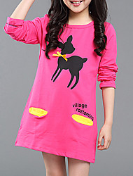 cheap -Girl's Daily Going out Other Dress, Cotton Summer Long Sleeves Simple Cute Active Black Yellow Fuchsia