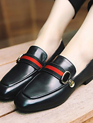 baratos -Mulheres Sapatos Pele Outono Inverno Conforto Mocassins e Slip-Ons Salto Baixo Ponta Redonda para Casual Preto Vermelho