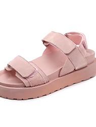 baratos -Mulheres Sapatos Couro Ecológico Primavera / Verão Conforto Sandálias Plataforma Dedo Aberto para Social Preto / Rosa claro
