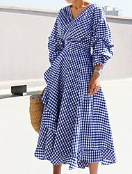 Недорогие -Жен. Уличный стиль Оболочка Платье - Контрастных цветов V-образный вырез Средней длины Синий