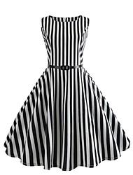 cheap -Women's Street chic Boho Swing Dress - Striped Print