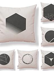 cheap -6 pcs Textile Cotton/Linen Pillow case Pillow Cover, Art Deco Special Design Novelty Geometric High Quality