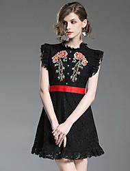 cheap -Women's Going out Slim A Line Dress - Floral Mini Crew Neck