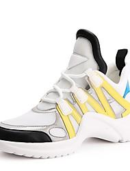 baratos -Mulheres Sapatos Micofibra Sintética PU Primavera / Verão Conforto Tênis Sem Salto Amarelo / Azul / Black / azul