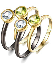 cheap -Women's Peridot S925 Sterling Silver / 18K Gold Plated Ring Set - 4pcs Circle Fashion / European Rainbow Ring For Gift / Daily