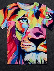 cheap -Men's Cute Basic T-shirt - Geometric Animal, Print Round Neck