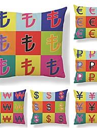 baratos -6 pçs Téxtil Algodão / Linho Fronha Cobertura de Almofada, Art Deco Estampado Padrão Criativo