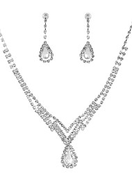 cheap -Cubic Zirconia Jewelry Set - Drop Classic, Vintage, Elegant Include Drop Earrings / Choker Necklace / Bridal Jewelry Sets Silver For Wedding / Party / Engagement