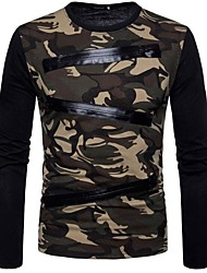 cheap -Men's Basic Cotton Slim T-shirt - Camouflage Round Neck / Please choose one size larger according to your normal size. / Long Sleeve