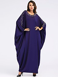 cheap -Women's Going out Basic / Boho Loose Shift / Swing / Abaya Dress - Solid Colored Beaded Maxi
