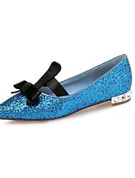 abordables -Femme Chaussures Paillettes Printemps / Eté Confort Ballerines Talon Plat Bout pointu Noeud / Paillette Noir / Argent / Bleu
