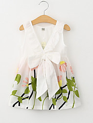 cheap -Girl's Daily Holiday Floral Dress, Cotton Polyester Summer Sleeveless Cute White