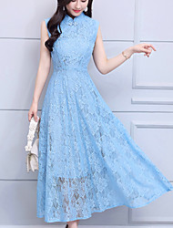 cheap -Women's Holiday Swing Dress - Solid Colored Lace Maxi Stand