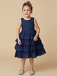cheap -A-Line Knee Length Flower Girl Dress - Taffeta Sleeveless Jewel Neck with Buttons by LAN TING BRIDE®