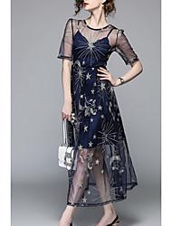 Недорогие -Жен. Оболочка Платье - Цветочный принт Средней длины