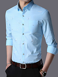 Недорогие -Муж. С принтом Рубашка Деловые Геометрический принт