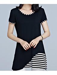 preiswerte -Damen Einfarbig - Grundlegend T-shirt Patchwork