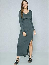 baratos -Mulheres Para Noite Sofisticado / Moda de Rua Delgado Tubinho / Reto / Bainha Vestido - Fenda, Sólido Cintura Alta Longo